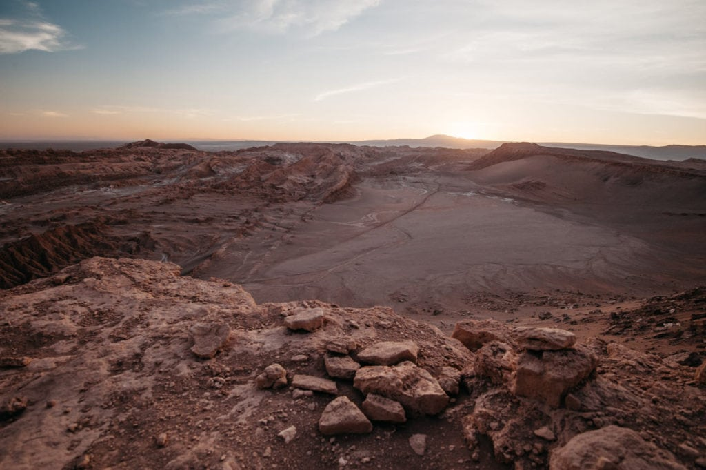 Overlooking the Atacama desert at sunset
