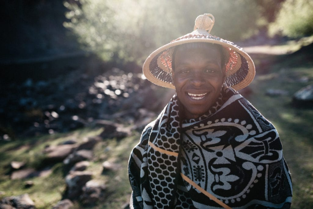 Typical Basotho in Blanket and Basotho Hat