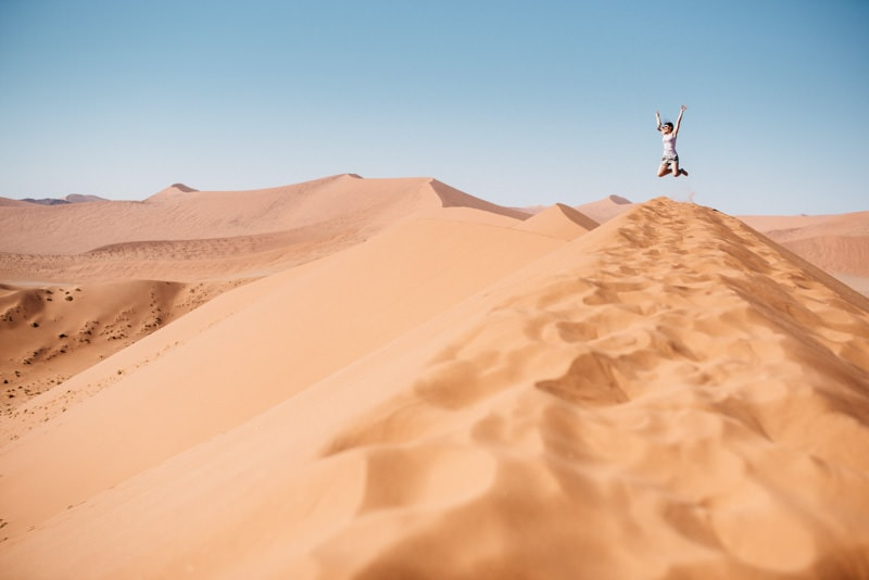 Jumping on top of Dune 45 in Namibia