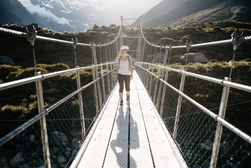 Hanging Bridge on Hooker Valley Track to Mount Cook Aoraki