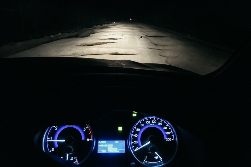 Driving during night Zambia with potholes