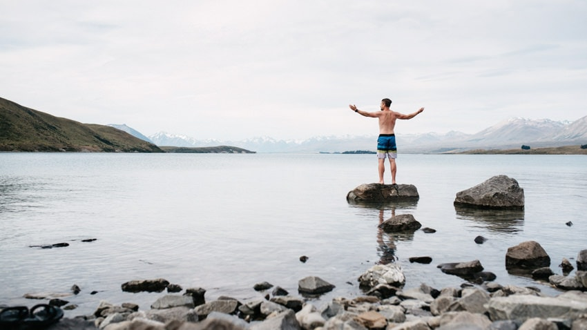 Swimming in Lake Tekapo