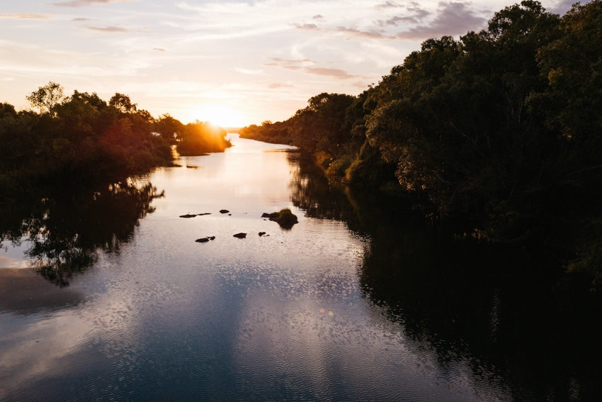 Zambesi River in Zambia at sunset