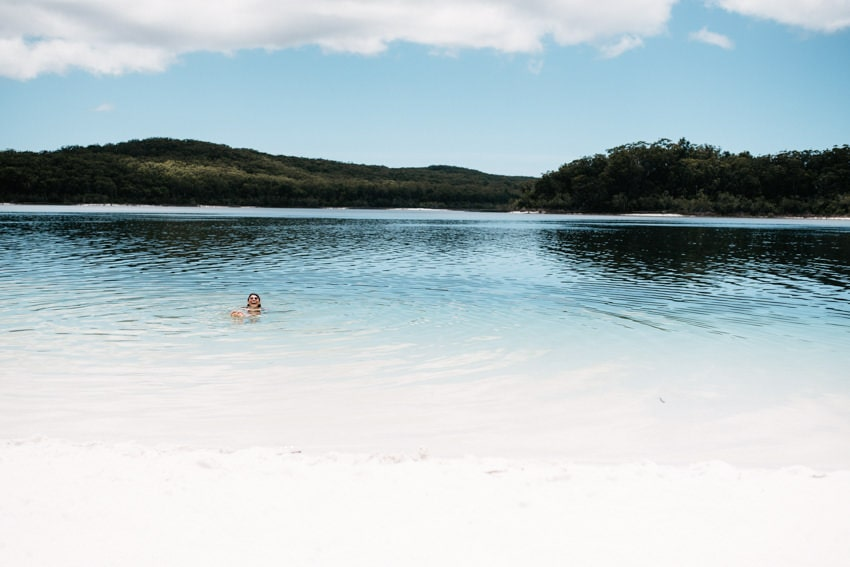 Swimming in Lake McKenzie on Fraser Island