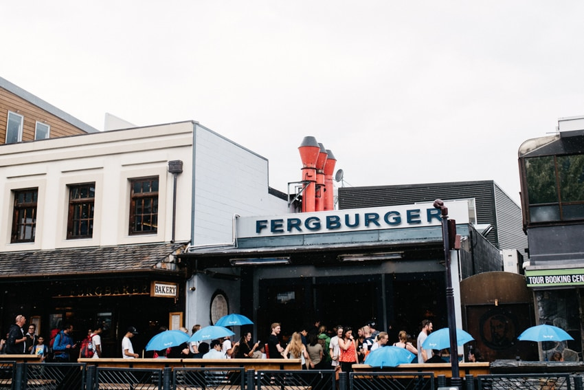 Line in front of Fergburger in Queenstown