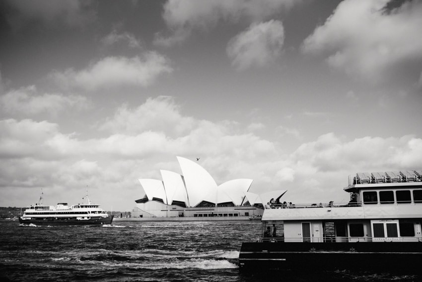 Sydney Harbor with Opera House and Ferries