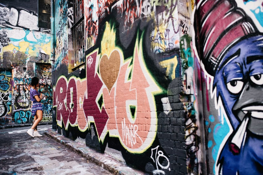 Melbourne Hosier Lane Street Artist at work