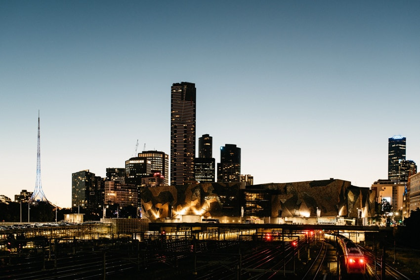 Skyline in Melbourne at night