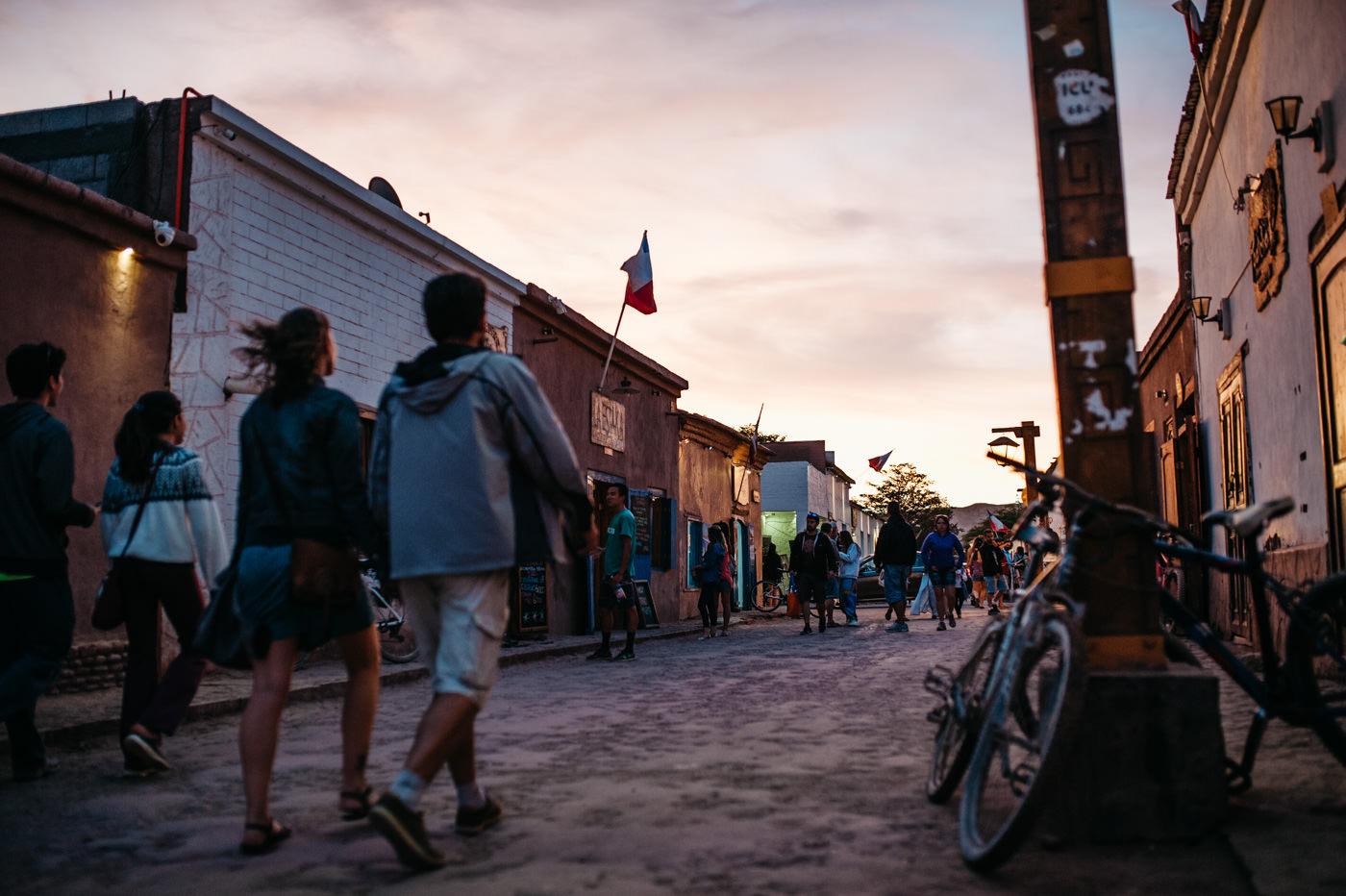 Chile San Pedro de Atacama busy street at sunset