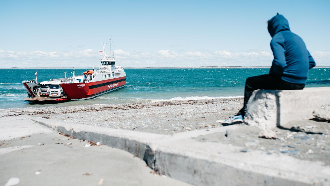 Impressions Driving Camping Patagonia Ferry Punta Delgada docking shore