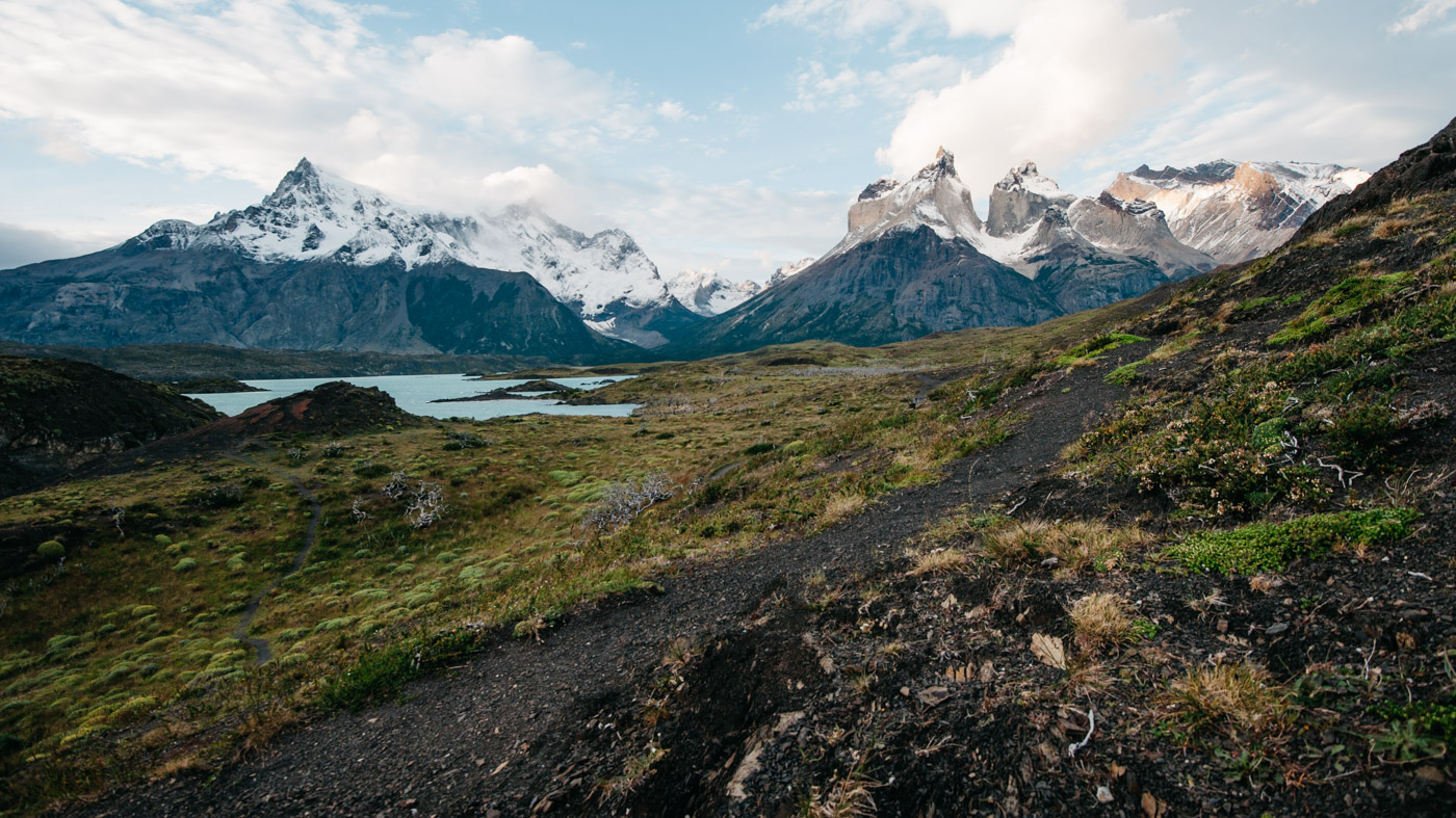 Typical Torres del Paine landscape at sunset